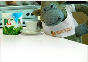 PG Tips monkey honoring Mr. Shifter.